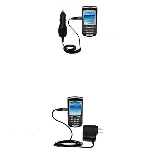 Gomadic Car and Wall Charger Essential Kit suitable for the Blackberry 7100x - Includes both AC Wall and DC Car Charging Options with TipExchange