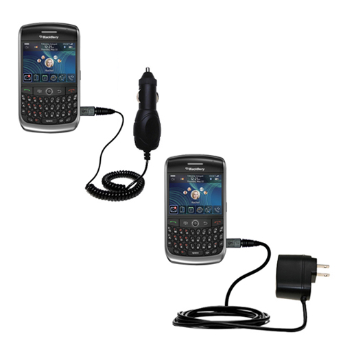 Gomadic Car and Wall Charger Essential Kit suitable for the Blackberry 8900 - Includes both AC Wall and DC Car Charging Options with TipExchange