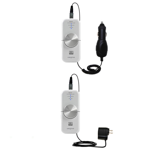 Gomadic Car and Wall Charger Essential Kit suitable for the Creative xMod - Includes both AC Wall and DC Car Charging Options with TipExchange