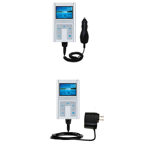 Gomadic Car and Wall Charger Essential Kit suitable for the Creative Zen Sleek Photo - Includes both AC Wall and DC Car Charging Options with TipExchange