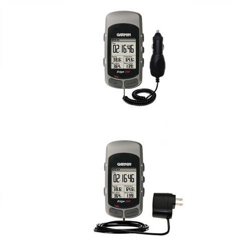 Gomadic Car and Wall Charger Essential Kit suitable for the Garmin Edge 305 - Includes both AC Wall and DC Car Charging Options with TipExchange