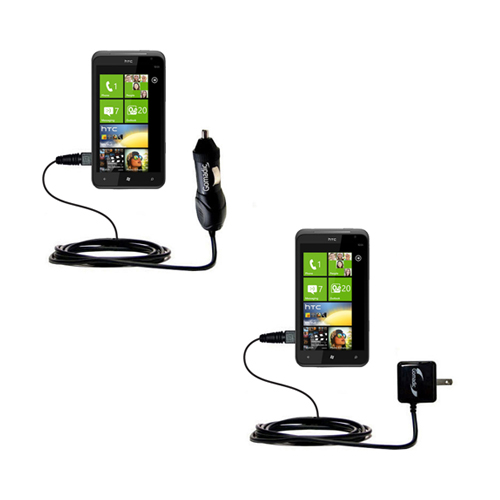 Gomadic Car and Wall Charger Essential Kit suitable for the HTC Titan - Includes both AC Wall and DC Car Charging Options with TipExchange