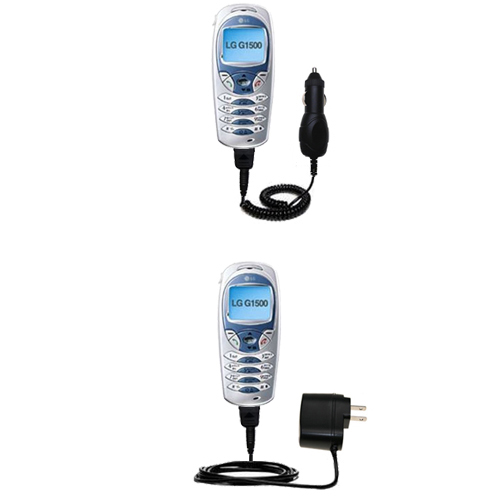 Gomadic Car and Wall Charger Essential Kit suitable for the LG 1500 - Includes both AC Wall and DC Car Charging Options with TipExchange