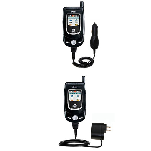 Gomadic Car and Wall Charger Essential Kit suitable for the Motorola V557 - Includes both AC Wall and DC Car Charging Options with TipExchange