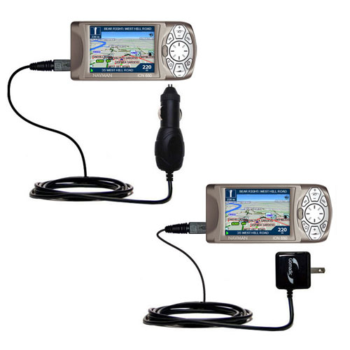 Gomadic Car and Wall Charger Essential Kit suitable for the Navman iCN 650 - Includes both AC Wall and DC Car Charging Options with TipExchange