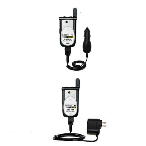 Gomadic Car and Wall Charger Essential Kit suitable for the Nextel i920 i930 - Includes both AC Wall and DC Car Charging Options with TipExchange