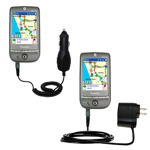 Gomadic Car and Wall Charger Essential Kit suitable for the Pharos GPS 525E - Includes both AC Wall and DC Car Charging Options with TipExchange