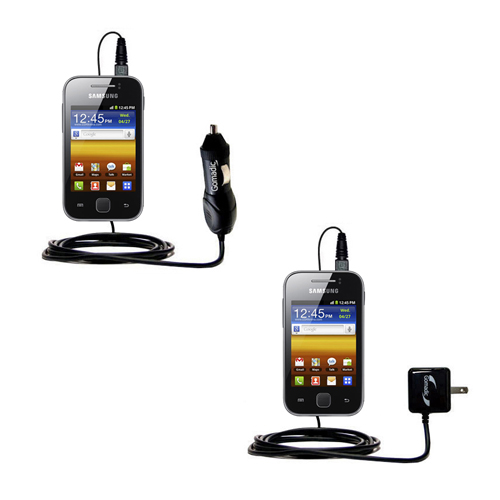 Gomadic Car and Wall Charger Essential Kit suitable for the Samsung Galaxy Y - Includes both AC Wall and DC Car Charging Options with TipExchange