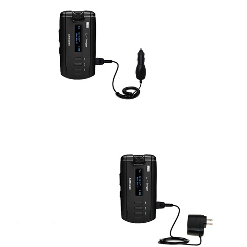 Gomadic Car and Wall Charger Essential Kit suitable for the Samsung SGH-A930 - Includes both AC Wall and DC Car Charging Options with TipExchange