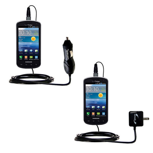 Gomadic Car and Wall Charger Essential Kit suitable for the Samsung Stratosphere - Includes both AC Wall and DC Car Charging Options with TipExchange