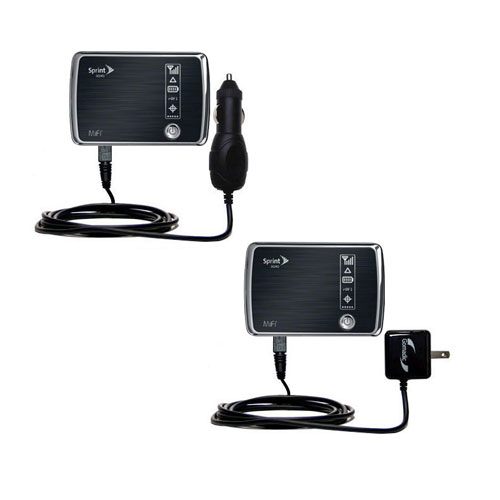 Gomadic Car and Wall Charger Essential Kit suitable for the Sprint 3G/4G Mobile Hotspot - Includes both AC Wall and DC Car Charging Options with TipExchange