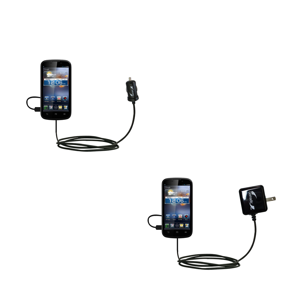 Gomadic Car and Wall Charger Essential Kit suitable for the ZTE Awe - Includes both AC Wall and DC Car Charging Options with TipExchange