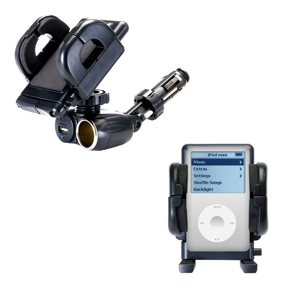 Dual USB / 12V Charger Car Cigarette Lighter Mount and Holder for the Apple iPod 4G (20GB)