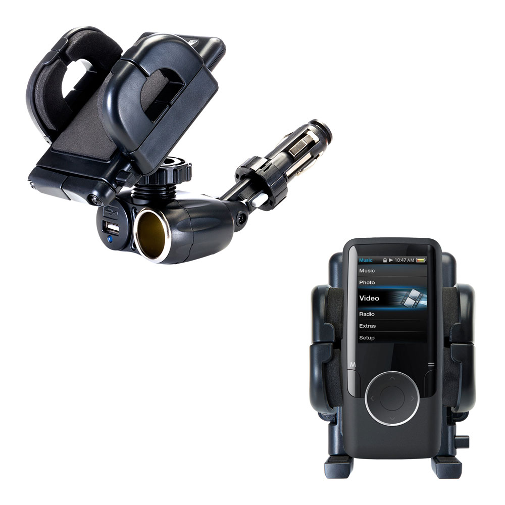 Dual USB / 12V Charger Car Cigarette Lighter Mount and Holder for the Coby MP620 Video MP3 Player
