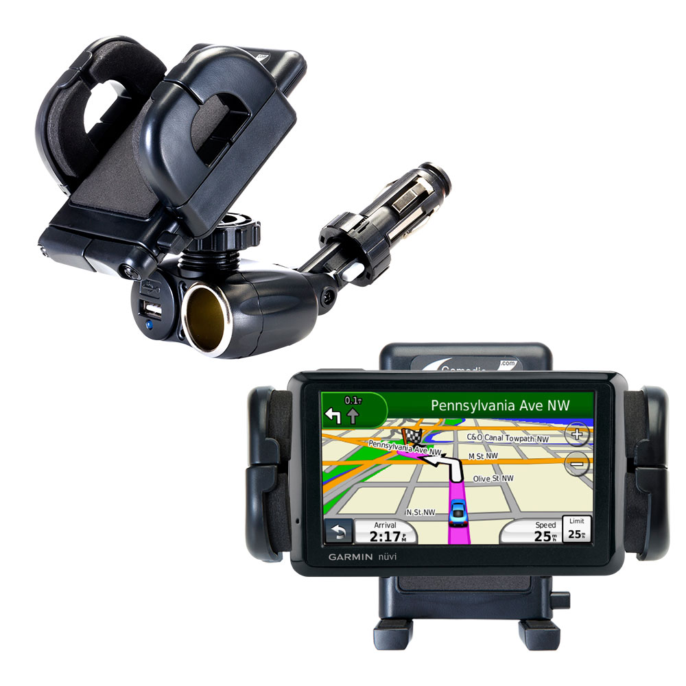 Dual USB / 12V Charger Car Cigarette Lighter Mount and Holder for the Garmin nuvi 1490LMT 1490T