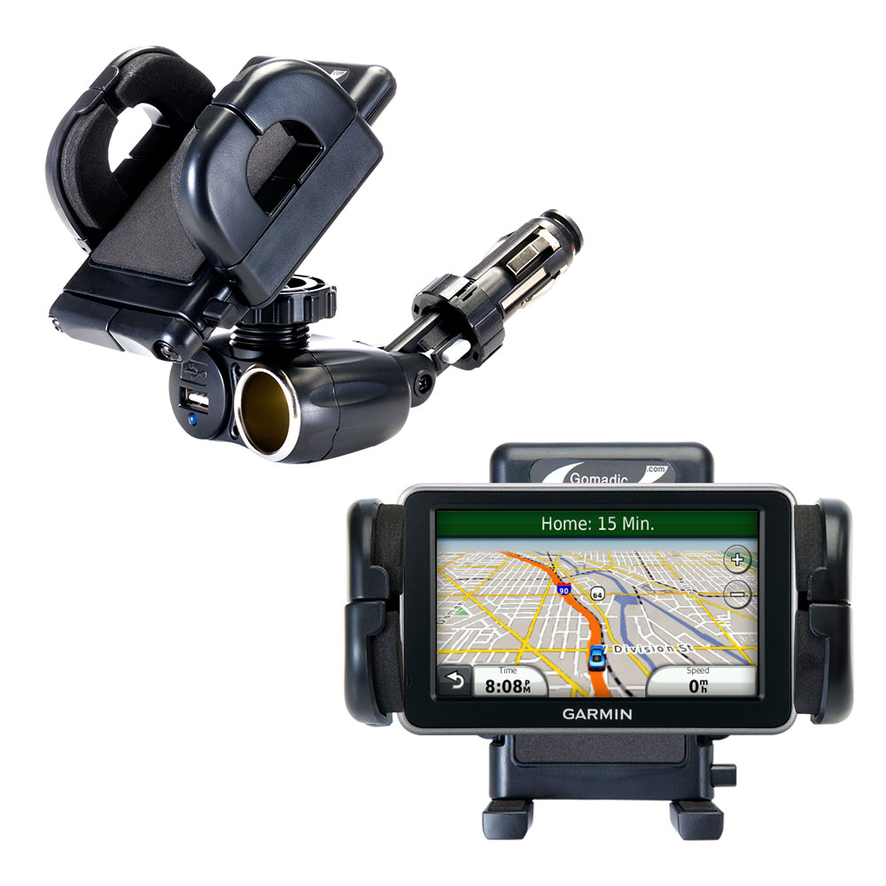 Dual USB / 12V Charger Car Cigarette Lighter Mount and Holder for the Garmin Nuvi 2460 2450