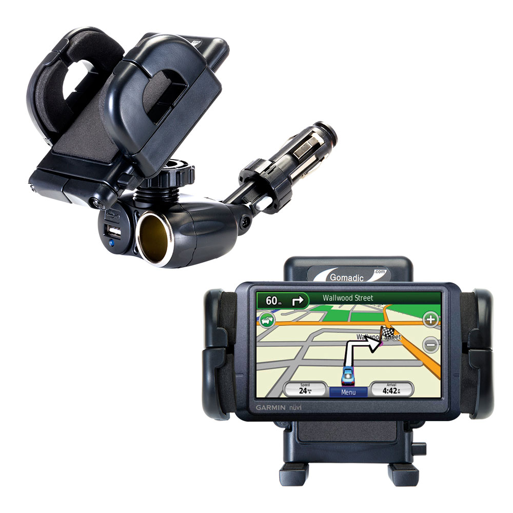 Dual USB / 12V Charger Car Cigarette Lighter Mount and Holder for the Garmin Nuvi 255