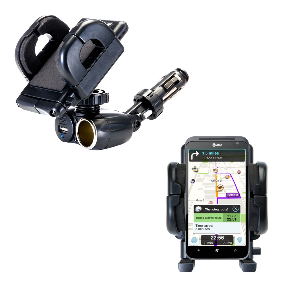 Dual USB / 12V Charger Car Cigarette Lighter Mount and Holder for the HTC Titan
