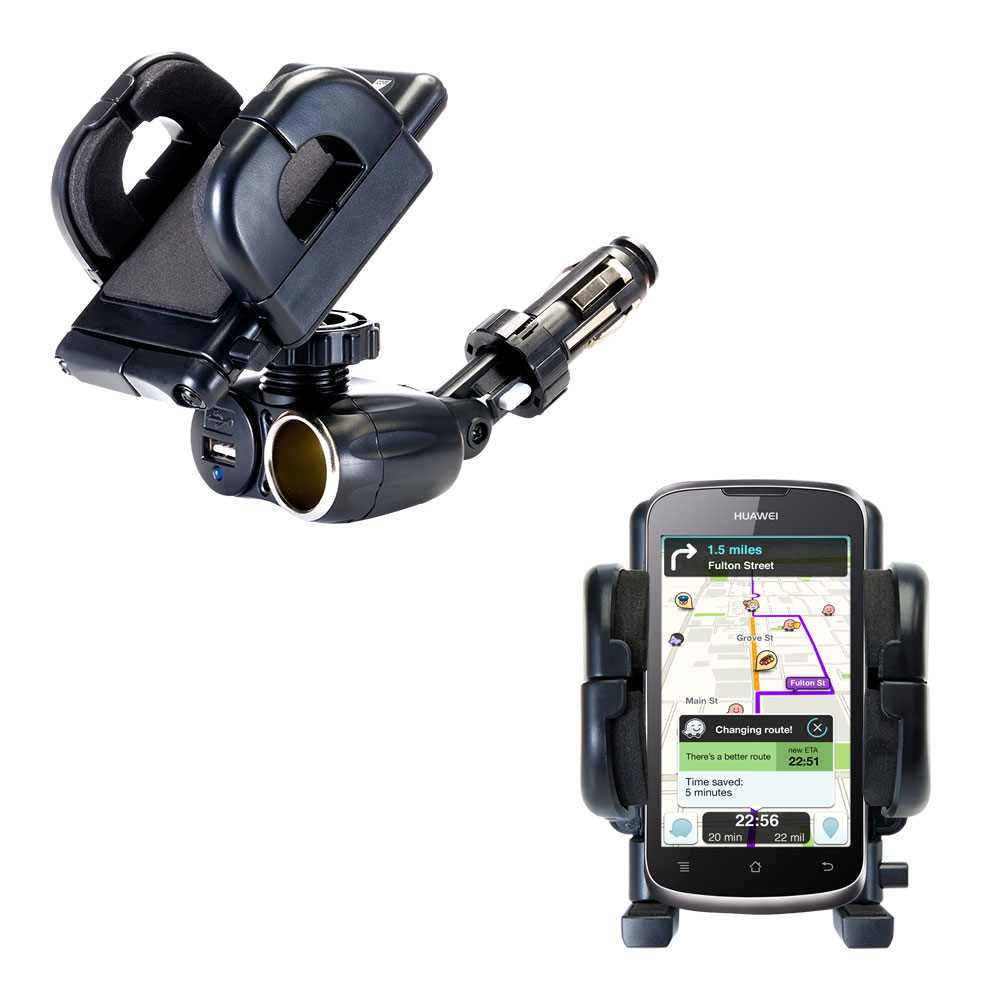 Dual USB / 12V Charger Car Cigarette Lighter Mount and Holder for the Huawei U8815