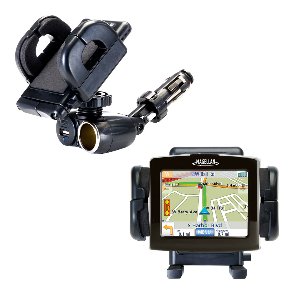 Dual USB / 12V Charger Car Cigarette Lighter Mount and Holder for the Magellan Maestro 3200