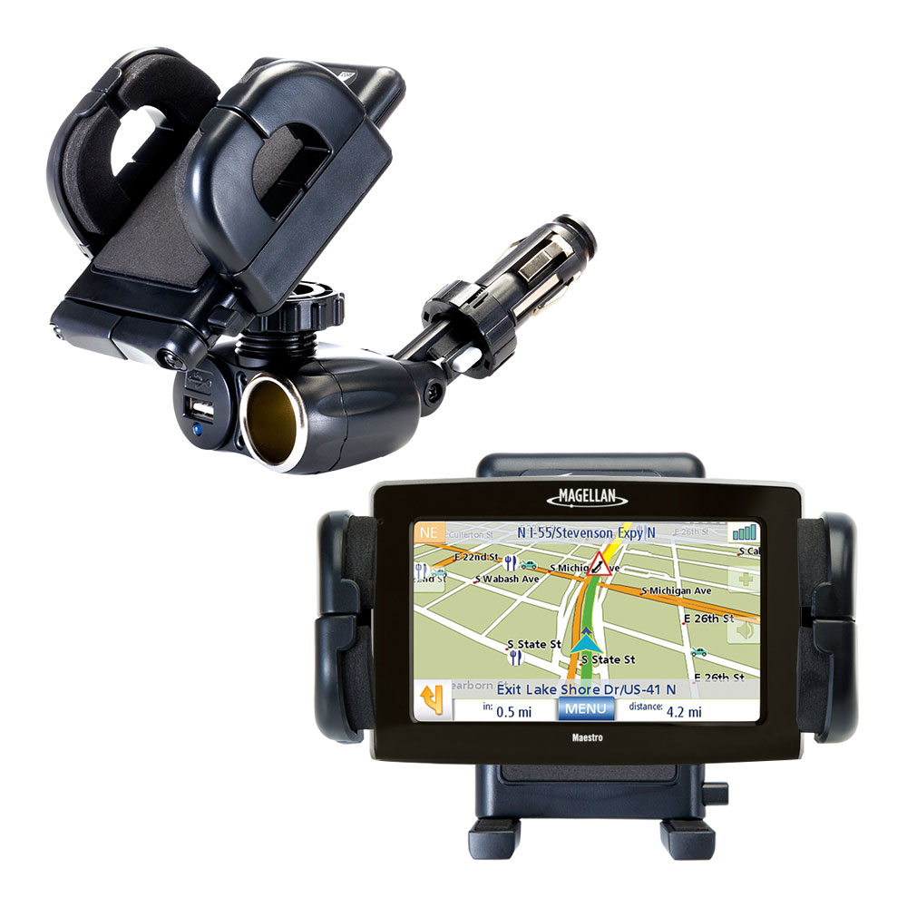 Dual USB / 12V Charger Car Cigarette Lighter Mount and Holder for the Magellan Maestro 4250