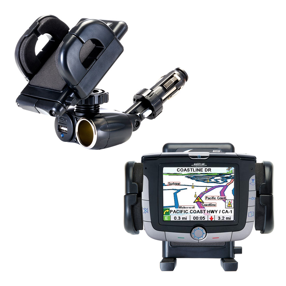 Dual USB / 12V Charger Car Cigarette Lighter Mount and Holder for the Magellan Roadmate 3000T