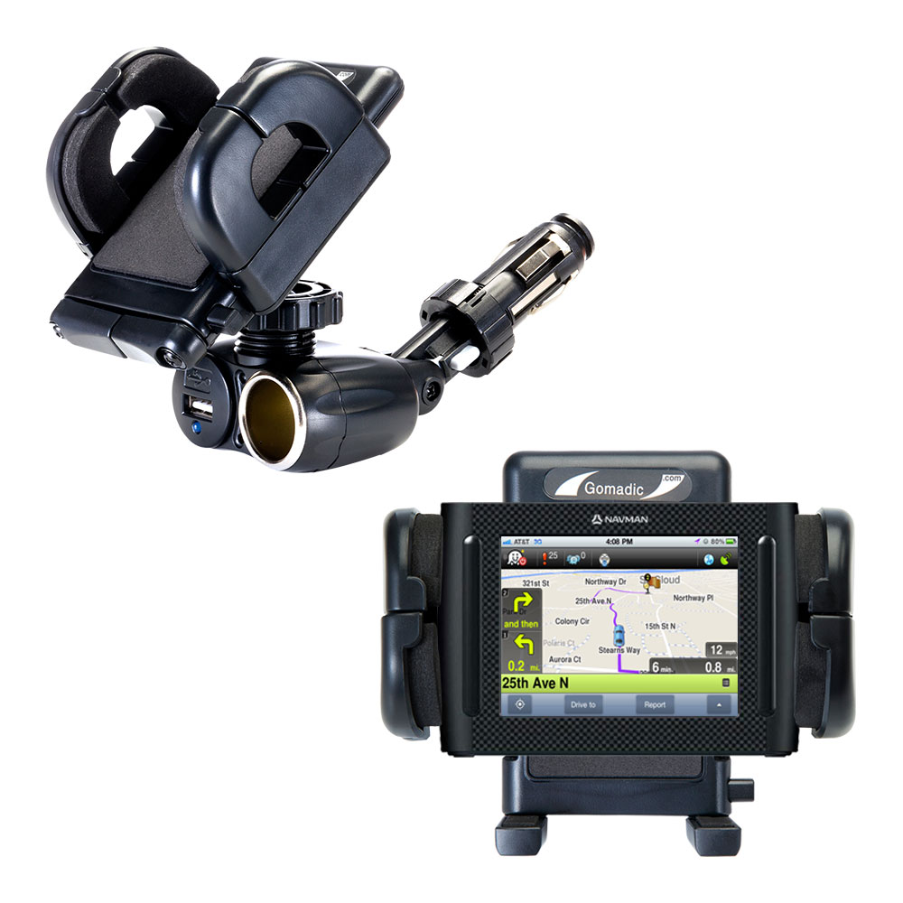 Dual USB / 12V Charger Car Cigarette Lighter Mount and Holder for the Navman F35