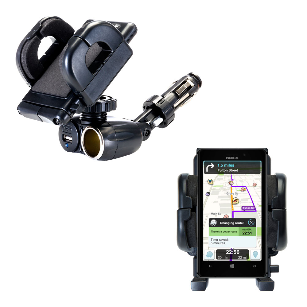 Dual USB / 12V Charger Car Cigarette Lighter Mount and Holder for the Nokia Lumia 925