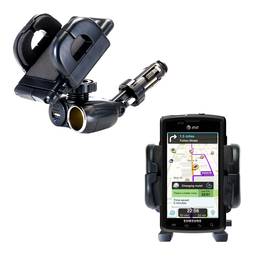 Dual USB / 12V Charger Car Cigarette Lighter Mount and Holder for the Samsung Captivate