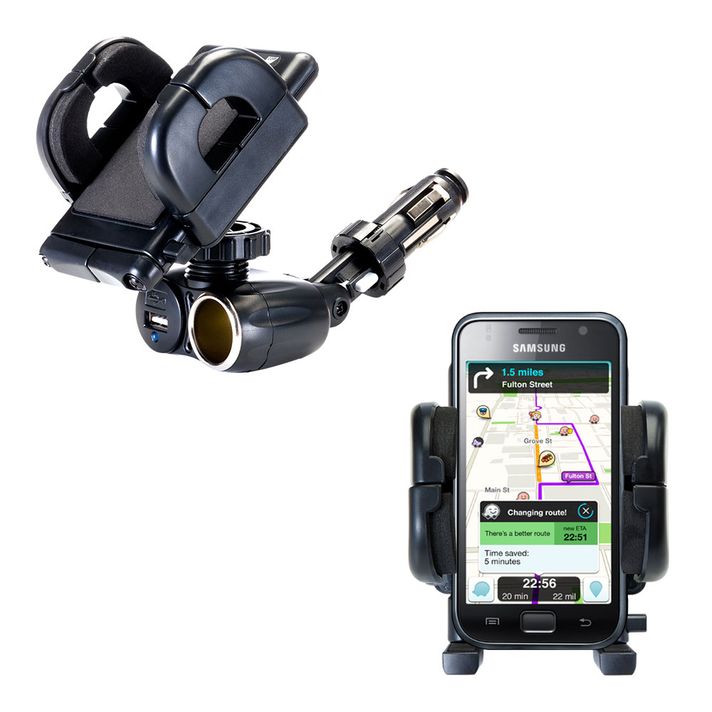 Dual USB / 12V Charger Car Cigarette Lighter Mount and Holder for the Samsung Galaxy S