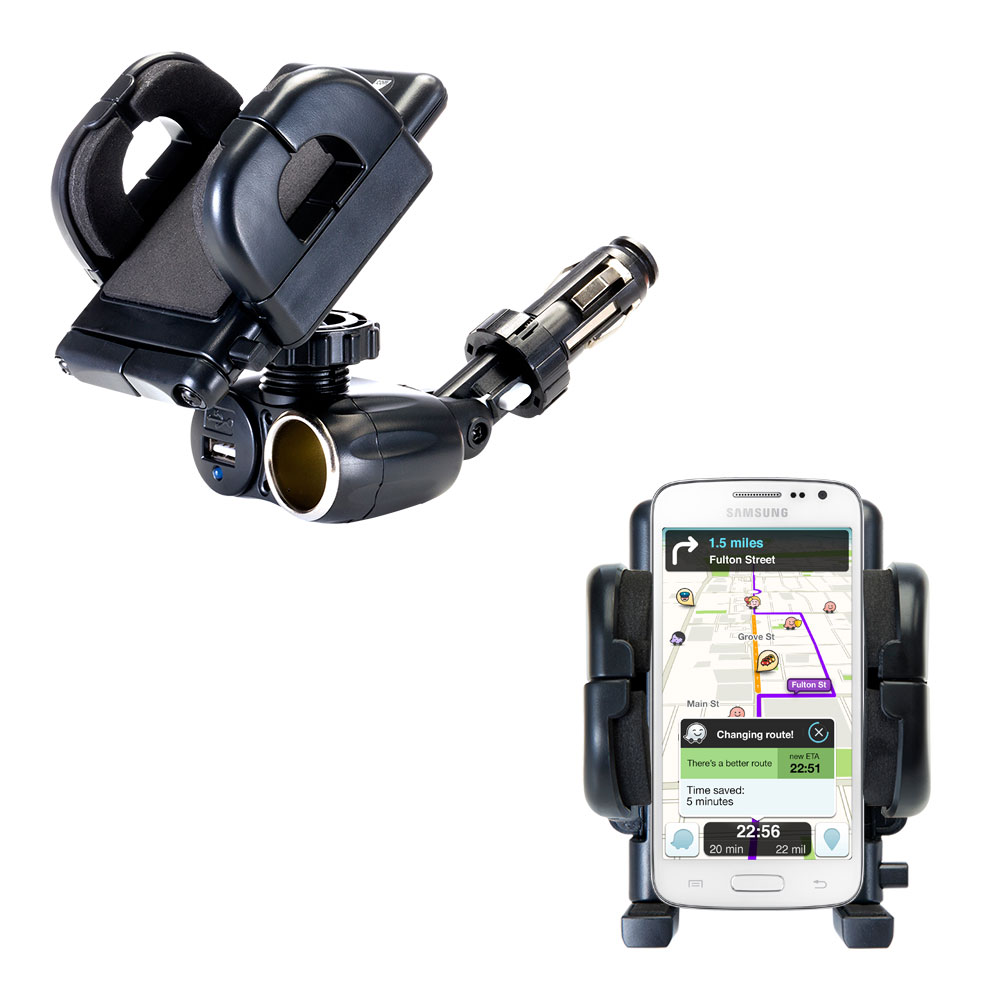 Dual USB / 12V Charger Car Cigarette Lighter Mount and Holder for the Samsung Galaxy S III