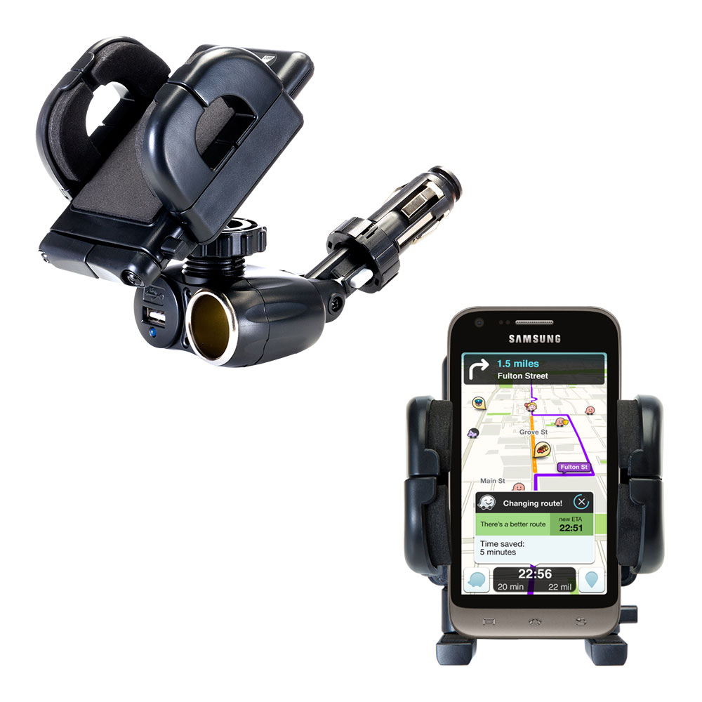 Dual USB / 12V Charger Car Cigarette Lighter Mount and Holder for the Samsung Galaxy Victory