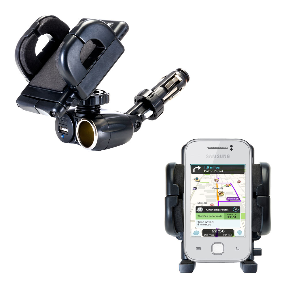 Cigarette Lighter Car Auto Holder Mount compatible with the Samsung Galaxy Y
