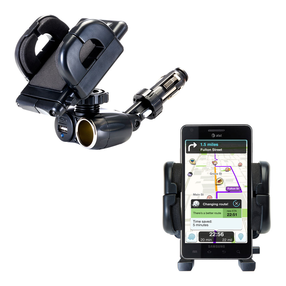 Dual USB / 12V Charger Car Cigarette Lighter Mount and Holder for the Samsung Infuse 4G