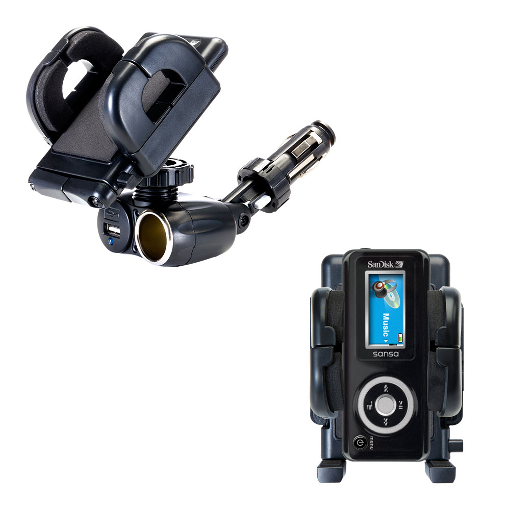 Dual USB / 12V Charger Car Cigarette Lighter Mount and Holder for the Sandisk Sansa c100