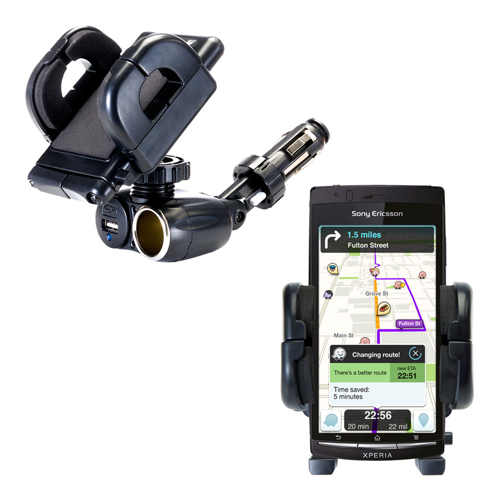 Dual USB / 12V Charger Car Cigarette Lighter Mount and Holder for the Sony Ericsson LT15i