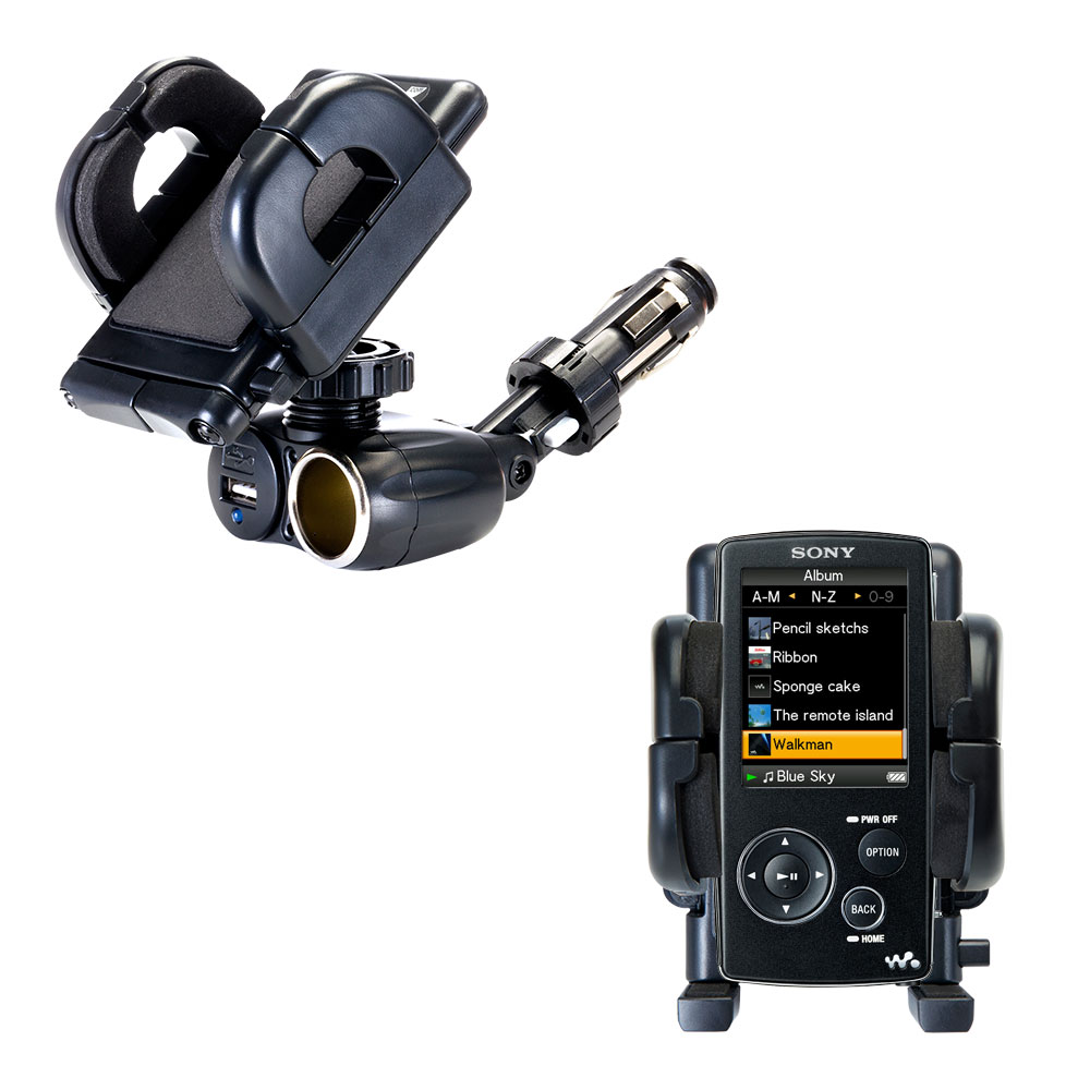 Dual USB / 12V Charger Car Cigarette Lighter Mount and Holder for the Sony Walkman NWZ-A805