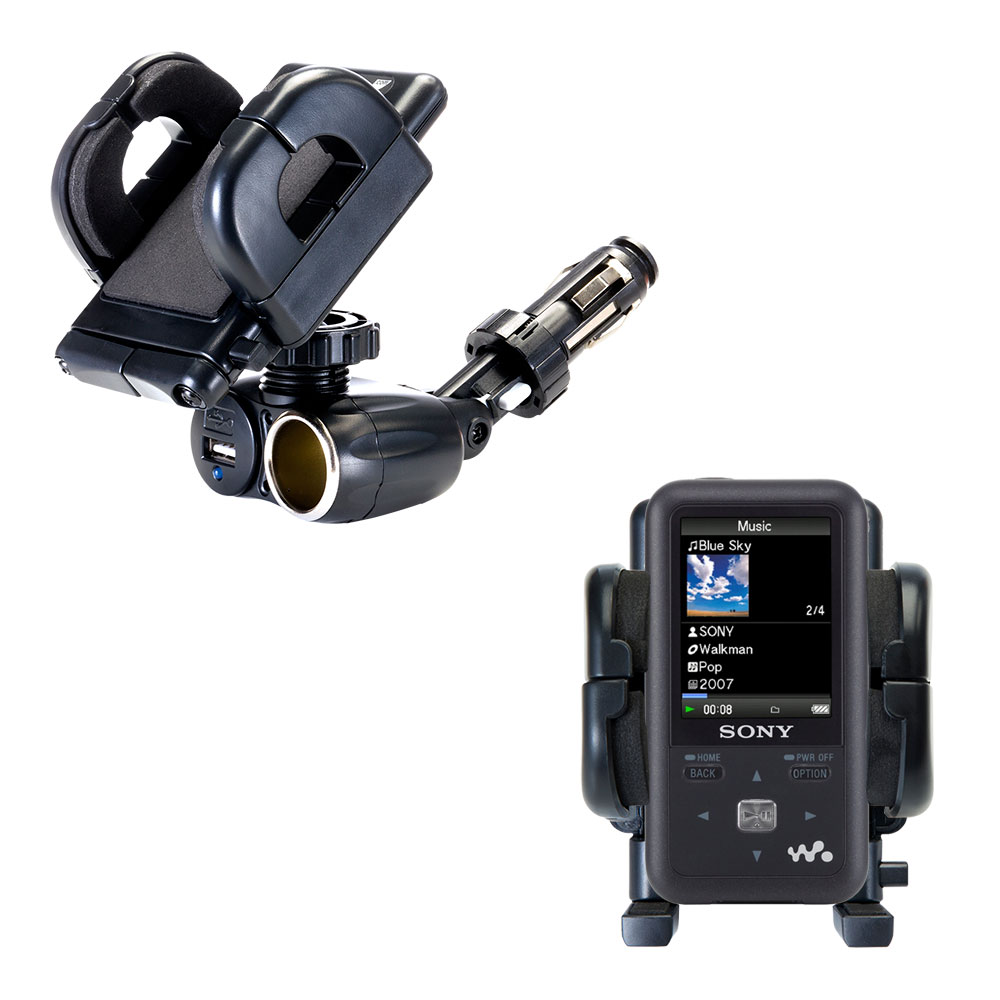 Dual USB / 12V Charger Car Cigarette Lighter Mount and Holder for the Sony Walkman NWZ-S616