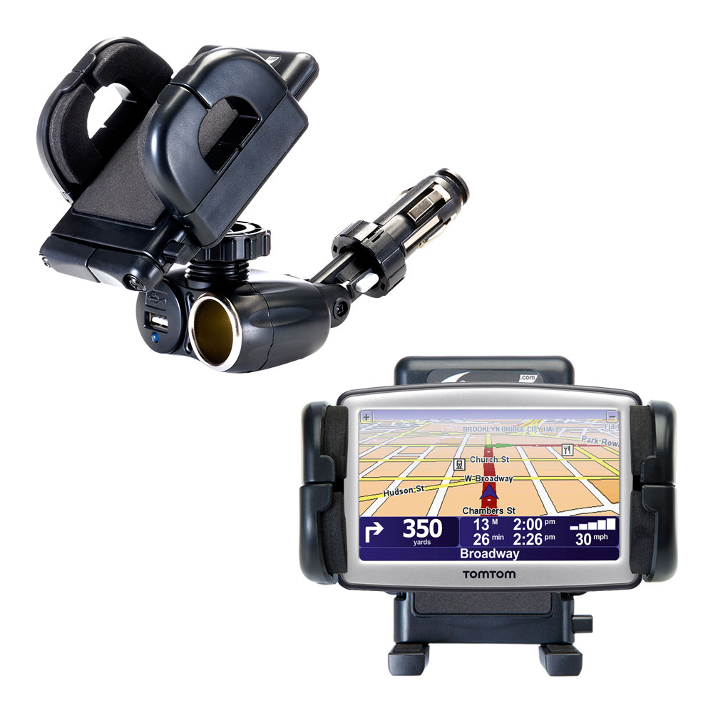 Dual USB / 12V Charger Car Cigarette Lighter Mount and Holder for the TomTom ONE XL S