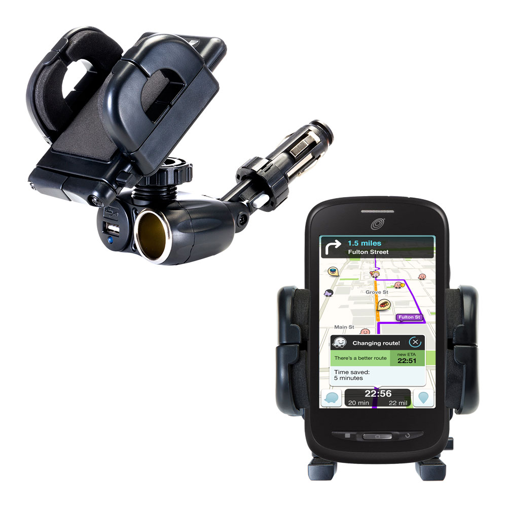 Dual USB / 12V Charger Car Cigarette Lighter Mount and Holder for the ZTE Merit Z990G