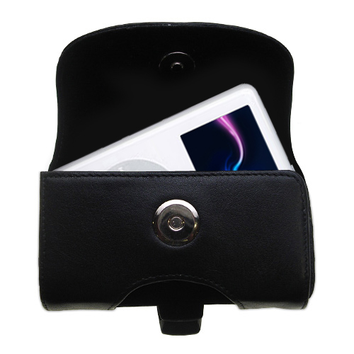 Gomadic Brand Horizontal Black Leather Carrying Case for the Apple iPod 4G (20GB) with Integrated Belt Loop and Optional Belt Clip