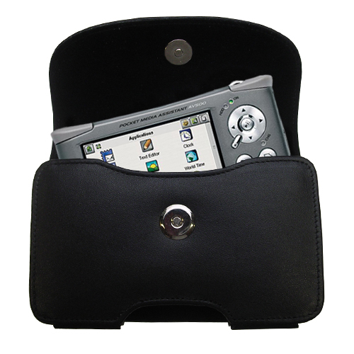 Gomadic Brand Horizontal Black Leather Carrying Case for the Archos PMA 400 with Integrated Belt Loop and Optional Belt Clip