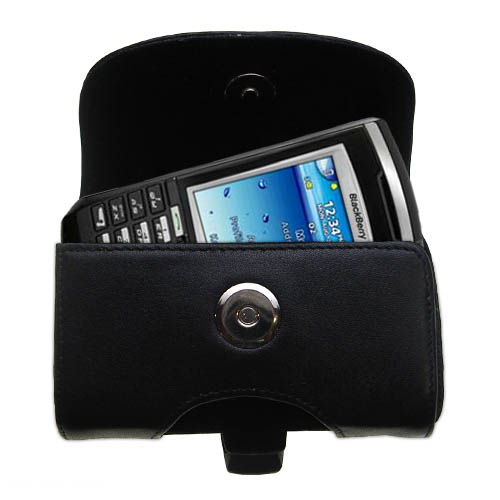 Gomadic Brand Horizontal Black Leather Carrying Case for the Blackberry 7100x with Integrated Belt Loop and Optional Belt Clip