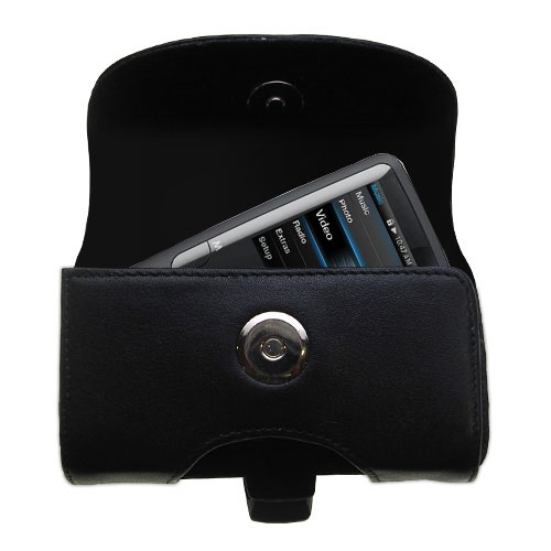 Gomadic Brand Horizontal Black Leather Carrying Case for the Coby MP620 Video MP3 Player with Integrated Belt Loop and Optional Belt Clip