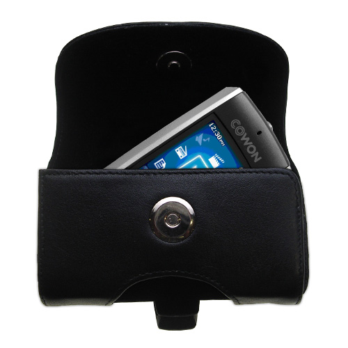Gomadic Brand Horizontal Black Leather Carrying Case for the Cowon iAudio F2 with Integrated Belt Loop and Optional Belt Clip