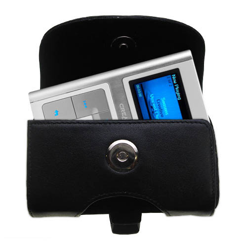 Gomadic Brand Horizontal Black Leather Carrying Case for the Creative Zen Sleek Photo with Integrated Belt Loop and Optional Belt Clip