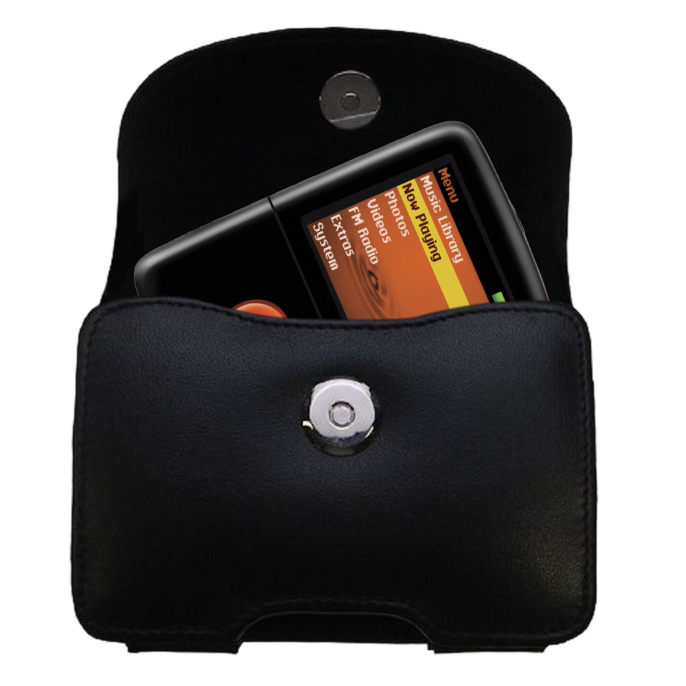 Gomadic Brand Horizontal Black Leather Carrying Case for the Creative Zen V Plus with Integrated Belt Loop and Optional Belt Clip