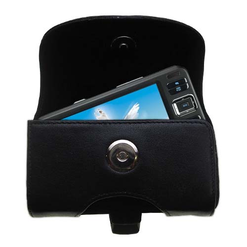 Gomadic Brand Horizontal Black Leather Carrying Case for the Creative Zen Vision W with Integrated Belt Loop and Optional Belt Clip