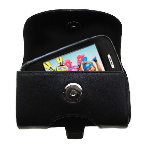 Gomadic Brand Horizontal Black Leather Carrying Case for the Ematic E6 Series with Integrated Belt Loop and Optional Belt Clip