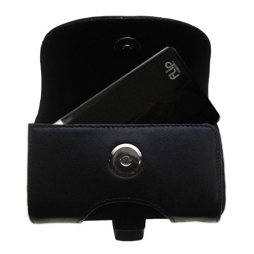 Gomadic Brand Horizontal Black Leather Carrying Case for the Pure Digital Flip Video MinoHD with Integrated Belt Loop and Optional Belt Clip